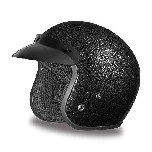 Daytona Helmets 3/4 Shell Open Face Motorcycle Helmet – DOT Approved [Black Metal Flake] [M]