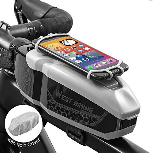 Lixada Bolsa de Bicicleta con Soporte para Teléfono Móvil,Bolsa de Bicicleta de...