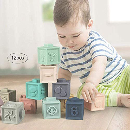 Peuter speelgoed 0 3 6 12 maanden oude baby en zachte baby blokken leert de les 12-delige baby shower speelgoed voor kinderen van 0 tot 3 jaar