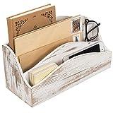 MyGift Schreibtisch-Sortierer aus Holz, 3 Fächer, Weiß gekalkt