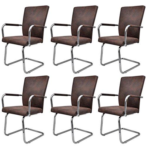 mewmewcat Esszimmerstuhl Küchenstühle Set Stuhlgruppe Essstuhl Stuhl Esszimmermöbel Kunstleder Braun