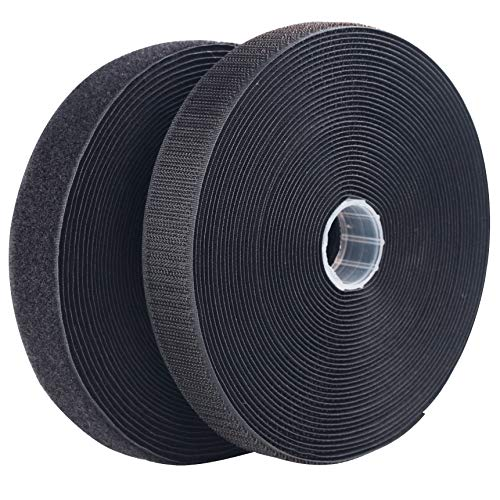 LLPT Sew On Hook and Loop Tape Extra Industrial Strength Nylon Fabric 1 Inch x 33 Feet Each Roll No Adhesive Hook Loop Strip for Sewing on DIY Cloth Shoe Curtain Bag Sport Gears Color Black (NHTB33)