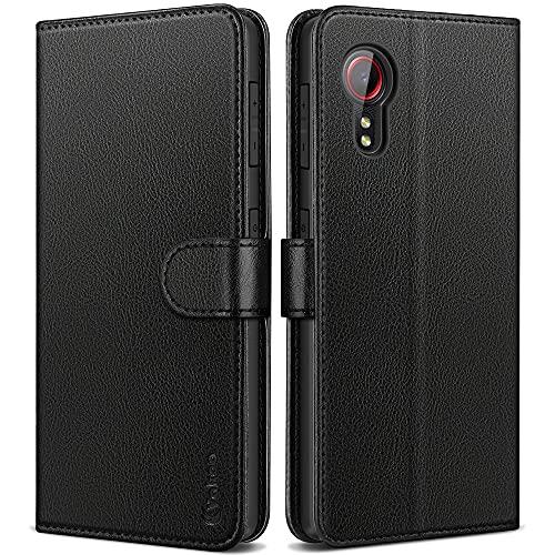Vakoo Wallet Serie Handyhülle für Samsung Galaxy Xcover 5 Leder Hülle Klappbar Stand Feature Tasche ,mit RFID Schutz, Schwarz