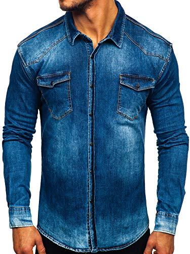 BOLF Herren Jeanshemd Freizeit Jeans Hemd Herrenhemd Hai-Kragen Langarm Slim fit The Gangster 2063 Dunkelblau S [2B2]