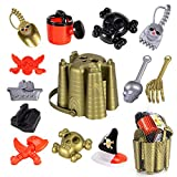 Ruinidi Beach Toy Set, 13 Piece Pirate Beach Toys, Sand Bucket, Watering Can, Shovel Kit, Net Bag, Beach Toys for Children Ages 3-10
