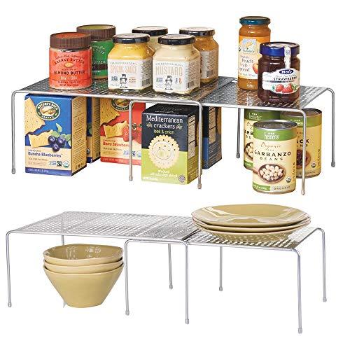 mDesign 2er-Set Küchenregal – praktische Geschirrablage für mehr Abstellfläche – 2 ausziehbare Teleskopregale aus je einem kleinen und einem großen Regal aus Metall