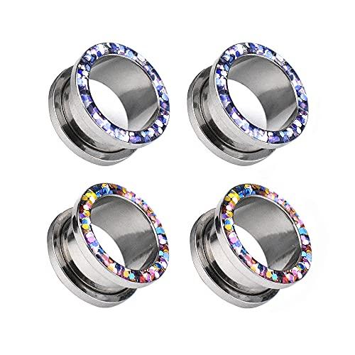 Jboyanpei 4 unids/2 pares de túneles de oreja hueca multicolor de acero inoxidable con ajuste de tornillo de calibre de dilatador de oreja tamaño 8 mm
