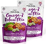 Nature's Garden Omega-3 Deluxe Nut Mix with Almonds - Natural & Functional Snacks Delicious & Tasty Flavor Fiber & Healthy Fats - 26 oz (Pack of 2)