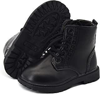 E-FAK Toddler Boys Girls Boots Waterproof Leather Lace Up Ankle Anti-Slip Rubber Sole Baby Hiking Boots(Toddler/Little Kid)