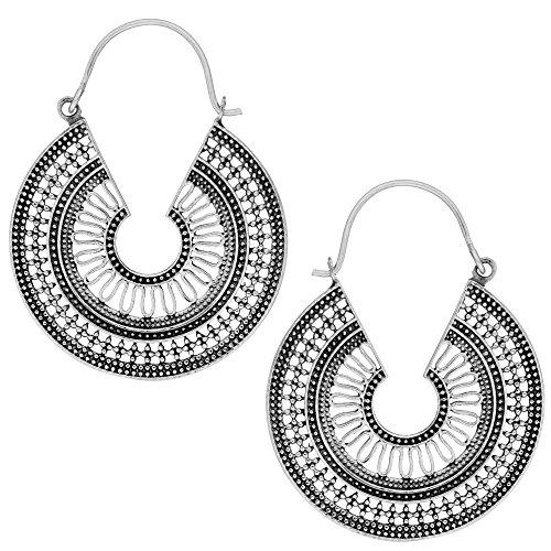 81stgeneration Women's .925 Sterling Silver 40 mm Tribal Ethnic Indian Egyptian Dotwork Hoop Earrings