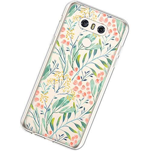Funda Compatible con LG G6,Carcasa Transparente Creativo Flores Diseño Patrón Cristal Suave...