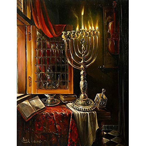(34x44cm)Happy Hanukkah,5D DIY Diamond Painting Candle Art Kit, Mosaic Paint by Diamond Embroidery Cross Stitch Handmade Home Decor Gift