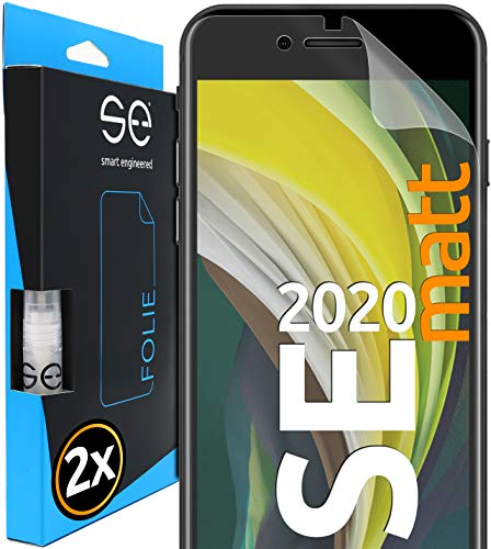 [2 Stück] Entspiegelte 3D Schutzfolien kompatibel mit Apple iPhone SE (2020), hüllenfre&liche Matte Bildschirmschutz-Folie, Schutz vor Dreck & Kratzern, kein Schutzglas - smart Engineered