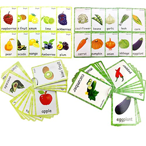 Set of Fruit and Vegetable Flash Cards for Toddlers | Kids Learning Flashcard & Montessori Pocket Cards Toys | Perfect for Pre-K Decor Background Wall Stickers, Teacher/Autism Therapists Tools