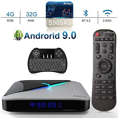 A95x F3 Air Android TV Box 【4G+32G】 Smart TV Box mit Amlogic S905X3 Quad-core Cortex-A55/Dual WiFi 2.4G/5.0G /HDMI 2.1/4K HD/ BT4.2 Android 9.0 TV Box (mit Mini Tastatur)