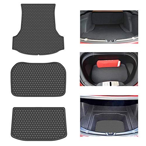 OREALTECH All Weather Waterdicht Zwart Voor & Achter Trunk Bescherming Boot Mat Heavy Duty Lading Liner Auto Opslagruimte Pad Tapijt Latex voor Tesla Model 3 2017 2018 2019