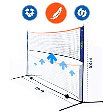 Street Tennis Club Portable, Light, Fast Set Up, Adjustable Height Badminton, Volleyball, Tennis and Soccer Tennis Net Stand -Available in Two Sizez 10 Feet and 14 Feet Long.