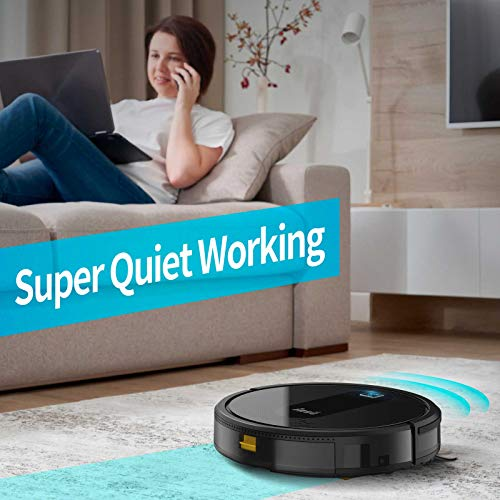 Robot Vacuum Cleaner 2000Pa Powerful Suction, Super Slim Quiet, 120min Runtime, Self Charging, Large Dustbin, Daily Schedule for Hard Floor Carpet Pet Hair, INSE E6 Smart Robotic Vacuum No WiFi Needed