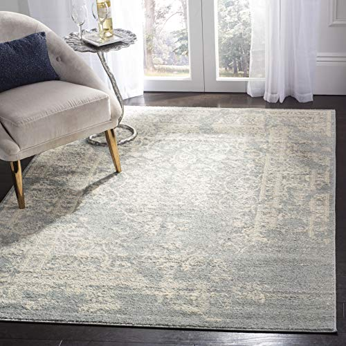 Safavieh Adirondack Collection ADR101S Ivory and Slate Oriental Vintage Distressed Area Rug (9' x 12')