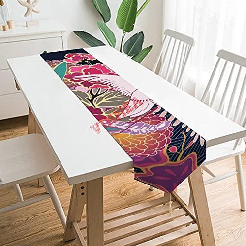 Camino de mesa pañuelos, diseño floral oriental en rojo, rosa, naranja, verde mantel para el hogar, cocina, cena, boda, eventos, decoración, 33 x 172 cm,