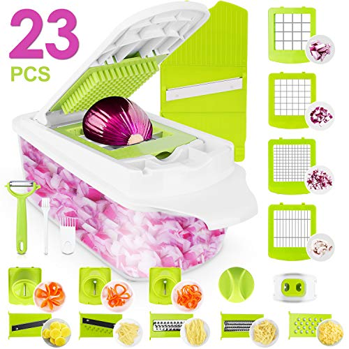 Sedhoom 23 in 1 Vegetable Chopper Food Chopper Onion Chopper Mandoline Slicer w/ Large Container 2nd Generation