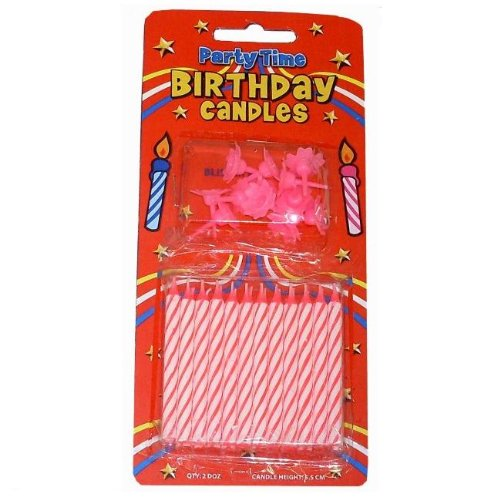 PARTY TIME Bougies d'anniversaire 24 avec supports Rose