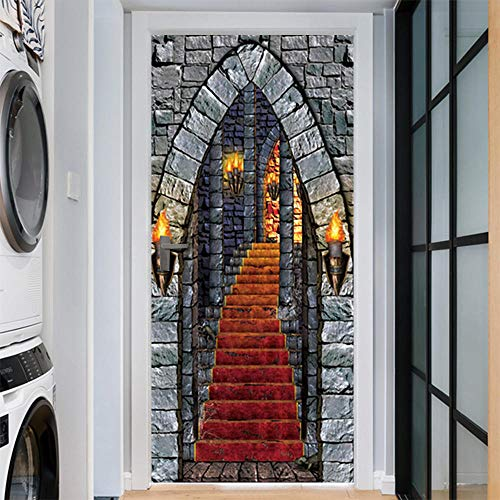 Door Wall Sticker Halloween Horror Castle Door Sticker Glass Window Sticker Wall Sticker