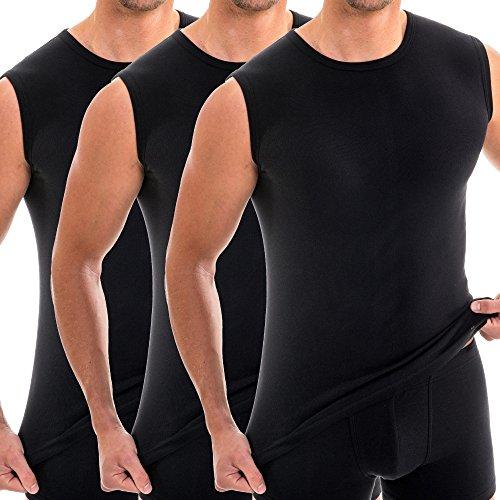 HERMKO 3040 3er Pack Herren Tank Top Unterhemd mit Rundhals-Ausschnitt aus 100% Bio-Baumwolle, Größe:D 6 = EU L, Farbe:schwarz
