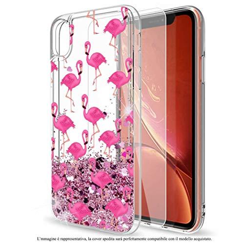 Mixroom - Custodia Cover Case con Brillantini Glitter in Gel Liquidi Quicksand per Samsung Galaxy J3 2017 Fantasia Fenicotteri Rosa Codice 461