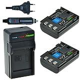 Chili Power NB-2LH, NB-2L, BP-2L5, BP de BP de 2LH Kit: 2 x Batería + Cargador para Canon EOS 350d, 400d, Digital Rebel XT, XTi, PowerShot G7, G9, S30 de S80, DC410, DC420, VIXIA HF R10, HF R100, HF R11