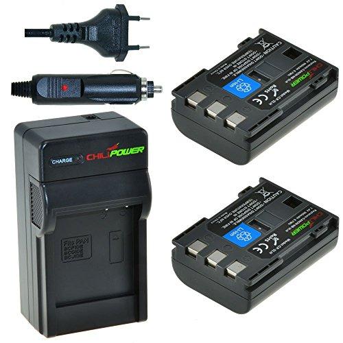 ChiliPower NB-2LH, NB-2L, BP-2L5, BP-2LH Kit: 2X Akku + Ladegerät für Canon EOS 350D, 400D, Digital Rebel XT, XTi, PowerShot G7, G9, S30-S80, DC410, DC420, VIXIA HF R10, HF R100, HF R11