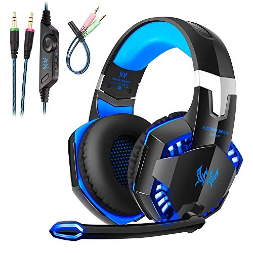 Cuffie Gaming PS4 Con Microfono LED Luce Regolatore di Volume G2000 USB Cuffie Gaming Headset con Audio Surround Cancellazione di Rumore per PC Xbox One Portatili Mac Tablet, Nero/Blu