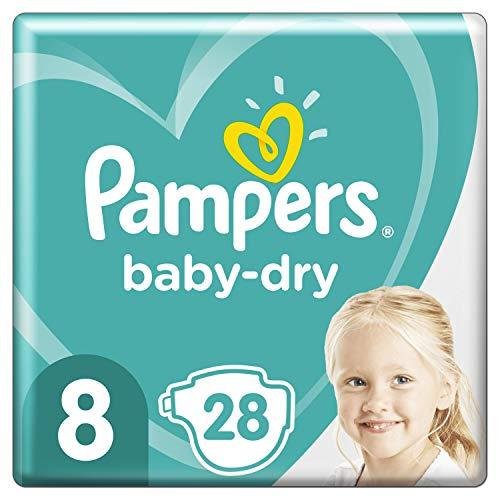 Windeln Pampers Größe 8 (17 kg) – Baby-Dry, 28 Windeln, bis zu 12 Stunden Schutz