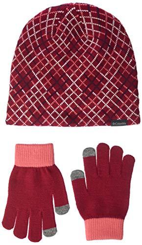 Columbia - Juego de gorro y guantes para niño, Evergreen, Youth Set II - Gorro y guantes, Niños, color Granada para pomelos, tamaño talla única