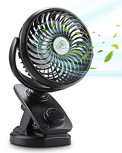 Verbesserte USB Ventilator, 5000Mah 2-in-1 Leise Tischventilator Clip Fan , 360°Drehung Wiederaufladbarer Stufenlose Geschwindigkeit Lüfter , Auto Oszillierend für Kinderwagen Büro Camping Familien