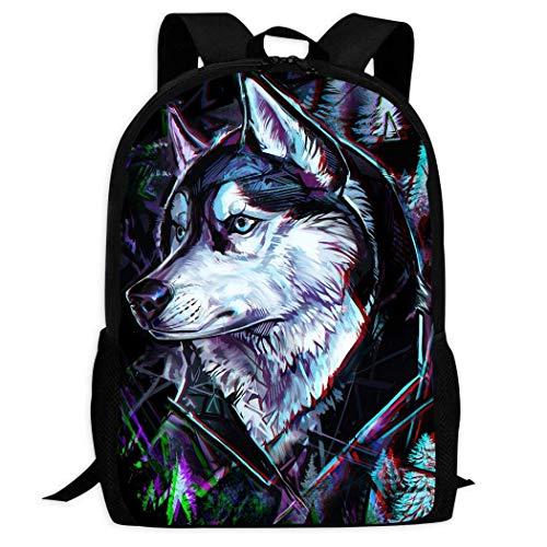 XCNGG Erwachsenen-Vollformat-Druckrucksack Lässiger Rucksack Rucksack Schultasche Sport School Wolf Backpack Teen Boys...