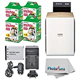 Fujifilm instax SHARE Smartphone Printer SP-2 (Gold) + Fujifilm Mini Twin Pack (80 Shots) + Travel Charger & Extra Battery + Cleaning Cloth + Portable Printer Bundle