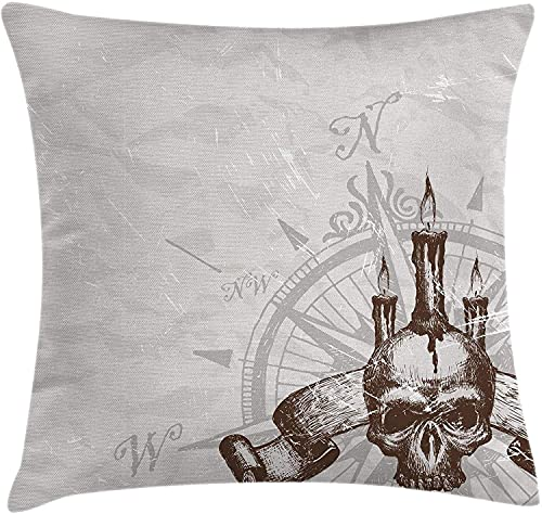Compass Throw Pillow Cushion Cover, Compass with Skull and Candles Spooky Adventure New Pirate Destinations Theme, Decorative Square Accent Pillow Case, 18 X 18, Brown Grey