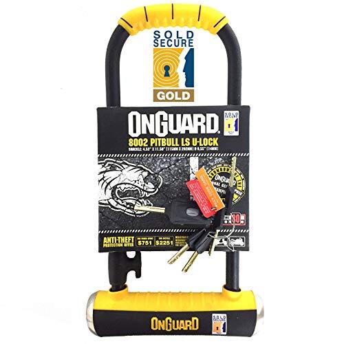 OnGuard Pitbull LS 8002 Long Shackle Bike U-Lock (Sold Secure Gold) by On-Guard