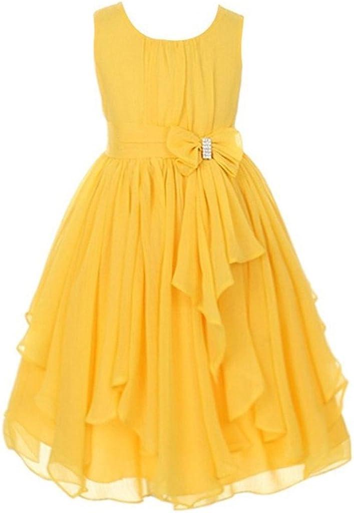 H.S.D Asymmetric Ruffles Chiffon Flower Girl Dress Pageant Gowns