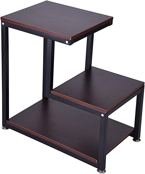 FORESTIME Modern End Table 3 Tier Chair Side Table Nightstand Bedside Table With Storage Shelves For Living Room Bedroom Brown