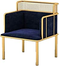 Iron Single Sofa Chair Simple Living Room Bedroom Balcony Hotel Clothing Store Leisure Small Sofa lamp Chair,Blue