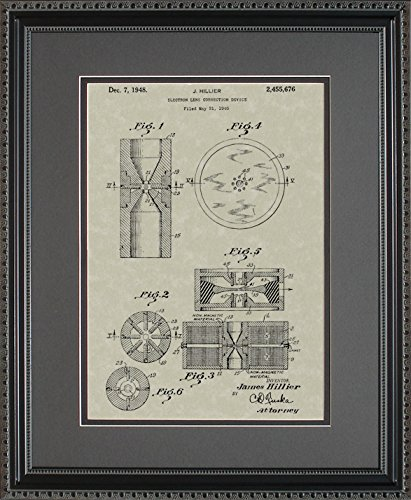 Electron Microscope Patent Art Wall Hanging | Scientist Researcher Framed Gift 11x14