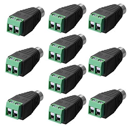 SIENOC 10 x RCA Stecker Adapter Terminalblock > Cinch Stecker RCA Adapter DC Block Schraubanschluss 2-Pin Verbinder Kabel auf Cinch Anschluss