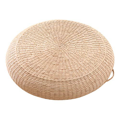 GJBHD Japanese Straw Tatami Cushions,Rattan Handcrafted Futon Seat Cushion Round Wicker Mat Eco-Friendly Breathable Floor Mat-a Diameter:50cm(20inch)