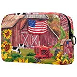Neceser de Maquillaje para Mujer Bolso Organizador de Kit de Viaje cosmético,Granja patriótica de Bandera Americana con Flor