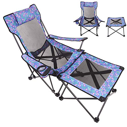 olyee Camping Chair with Footrest Mesh, Portable Folding Reclining Chair Heavy...