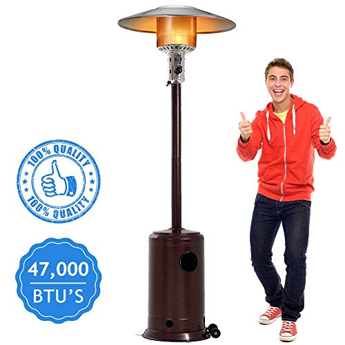 Big Save! Dkeli Outdoor Patio Heater with Wheels Portable 47,000 BTU Commercial LP Gas Propane Heater Auto Shut Off 88 Inches Tall Standing Patio Heater CSA Certified for Garden Wedding,Party, Hammered Bronze
