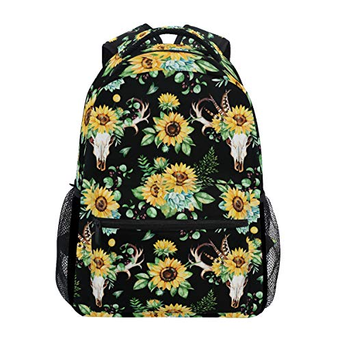 Sunflower Backpack Watercolor Skull Feather Floral School Bag Bookbag Casual Daypack Fits 14 Inch Laptop Bag