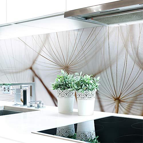 Keuken achterwand paardenbloem bruin premium hard PVC 0,4 mm zelfklevend - direct op de tegels 220 x 80 cm